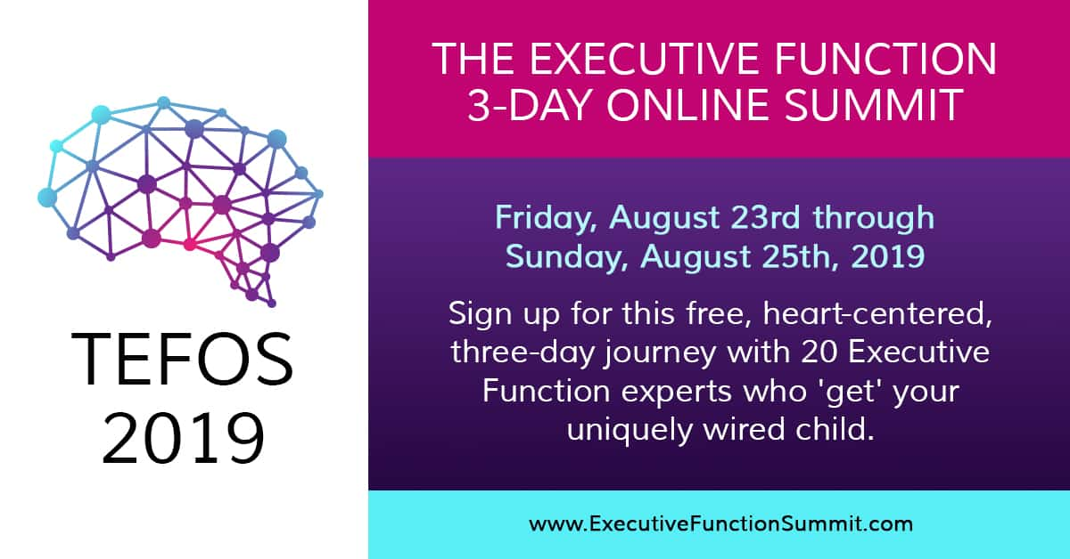 Sign up for this free, heart-centered, three-day journey with 20 Executive Function experts (myself included!) who 'get' your uniquely wired child. Hosted by Seth Perler Friday, August 23rd - Sunday, August 25th.
